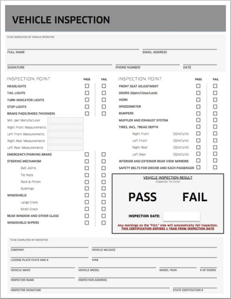 Sample Uber Inspection Form 791x1024 A Amp Y Royal Insurance